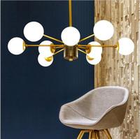Wholesale E27 G4 Led - Northern Europe led glass chandelier pendant lighting glod Chandeliers glass lampshade E27 restaurant lighting fixture AC85-265V