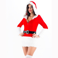 Wholesale santa costume adult - Free Shipping Xmas Fancy Dress Sexy Unusual Adult Fur Trim Velvet Santa Costume Christmas Costume W208522B