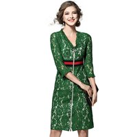 Wholesale Solid Green Runway Woman Vintage Dress Spring Midi Pencil Dress Woman OL Work Lace Robe Femme