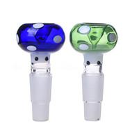 evrensel bonglar toptan satış-Sigara Dogo Yeni Varış Evrensel 14mm 18mm Mantar Cam Bongs Boğa Kafası Cam Kase için Çanaklar ile Mavi ve Yeşil Renk