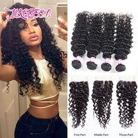 Wholesale Top Closure Density - Indian Virgin Human Hair Lace Closure 4 Boundles With Top Lace Closure Human Hair Full Density Deep Wave Weaves Closure Hair Extensions