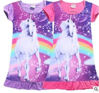 Wholesale 2017 HOT Girls Unicorn short Pajamas Dress Children s Unicorn Trolls Moana One piece Home Cosplay DRESS for T girls