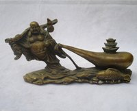 Wholesale Chinese Fish Statue - Collectible Chinese Decorated Old Brass Carved lucky Fish Buddha Sculpture  Antique Buddha statue 08