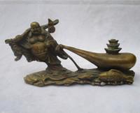 antike messing buddha-statue großhandel-Sammelbarer Chinese verzierte altes Messing geschnitzte glückliche Fische Buddha Sculpture / antike Buddha-Statue 08