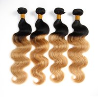 Wholesale European Two Tone Hair - T1b 27 Dark Root Honey Blonde Human Hair Weave Brazilian Body Wave Bundles Ombre Hair Extensions Cheap Two Tone Virgin Remy Double Weft