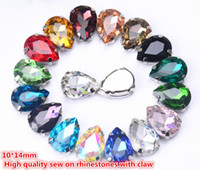 Wholesale Metal Claw Shoes - free shippment!35pcs lot 10x14mm Crystal Buttons Teardrop shape Glass In White K Metal Claw Settings Sewing On Dress Shoes