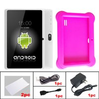 Wholesale Q8 Tablet Pink - Q88 7 Inch Android 4.4 Tablet PC ALLwinner A33 Quade Core Dual Camera 8GB 512MB Capacitive Cheap Tablets with Q8 silicone case 1pc