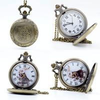 Wholesale Rabbit Watch Pendant - Wholesale-Vintage Bronze Alice in Wonderland The White Rabbit Dial Quartz Pocket Watch Analog Pendant Necklace Mens Womens Watches Gift