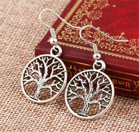 Wholesale Silver Earrings Punk - Vintage Peace Tree Of Life Hooks Earring 925 Silver Punk Personality Dangle Earrings Women Fashion Fine Jewelry Xmas Gift A040