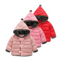 Wholesale Parka Jacket Girls - Winter Jacket Child Girls Down Coat Parkas with Bow Solid Hooded Cotton Kids Warm Down Jackets Kids Wear Outerwear Clothes