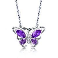 "Wholesale Butterfly Necklace Purple - 2017 Newest Fashion Jewelry Cute Purple Amethyst Butterfly Shape Pendant Necklace Chain 18"" for Women Girls Genuine Amethyst MQ Pear"