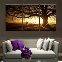 3 pièces (sans cadre) Hot Sell Tree Sunset Dusk LandScape Modern Home Wall Decor Canvas Photo Art HD Print Painting Set of 5 Each Canvas Arts