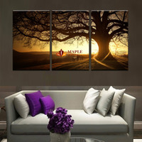 Wholesale Sunset Canvas Art Framed - 3 Piece(No Frame) Hot Sell Tree Sunset Dusk LandScape Modern Home Wall Decor Canvas picture Art HD Print Painting Set of 5 Each Canvas Arts