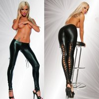 мокрые черные брюки оптовых-Wholesale- Faux Leather Leggings Fetish Sexy Lingerie Faux Leather Black Wet look Pants Punk Jeggings Fittness
