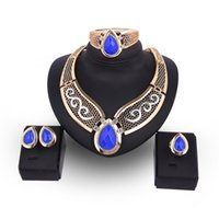 Wholesale Asian Bridals - Women Ladies Elegant Large Blue Faux Gem water drop Earrings Necklace Bracelet Ring Set Luxury Gold Plated Bridals African Jewelry set