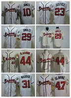 Wholesale 31 Shirt - 44 Hank Aaron Atlanta Braves Baseball shirts Throwback 31 Greg Maddux 29 John Smoltz 47 Tom Glavine 10 Chipper Jones 23 Justiice jerseys