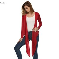cascade knitting - Plus Size Cardigan Women Long Sleeve Essential Cascading Open Stitch Back Print Cardigans Poncho Jumper Sueter Mujer XXXL