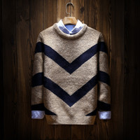 Wholesale Purple Stripe Sweater - Wholesale- New Men Vintage Stripe Kintted Sweaters High Quality Pullover Men Famous Brand Korean Sweaters