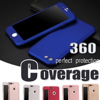 Wholesale Hot Hard Cover Case - Hot! 360 Degree Coverage Full Body With Tempered Glass Screen Protector Hard PC Case Cover For iPhone 7 Plus 6 6S Samsung S8 Plus S7 S6 Edge
