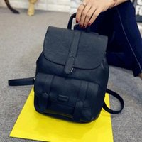 Wholesale sky bags for girl for sale - Group buy Famous Brand Backpack Women Backpacks Solid Vintage Girls School Bags for Girls Black PU Leather Women Backpack
