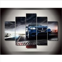 Wholesale Hd Car Pictures - New 5 Pieces sets Canvas Art Canvas Paintings HD BMW Car Style Living Room Decorations For Home Wall Art Prints Canvas