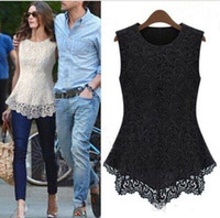 Wholesale Women Shirt Tank Crochet - White Lace Women Blouses Sexy Plus Size Crochet Womens Tops Chiffon Blouse Black Navy Sleeveless Shirt 5XL Big Size