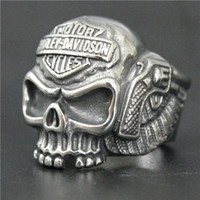 Wholesale Skull Wings Rings - Wholesale Price Newest Biker 316L Stainless Steel Fashion Motorcycle Skull Ring Band Party Punk Wings Biker Ring