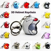 Wholesale Motorcycle Racing Accessories - Hot Pocket 3D Racing Motorcycle Helmet Keychain Key Ring Gift Moto Accessories Collect Cool Sports Promotion Gift Keychain CCA6529 200pcs