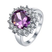 Wholesale Red Amethyst White Gold Rings - White gold plated colored Amethyst Jewelry CZ Diamond Engagement Bague Bijoux Luxury Accessories Wedding Rings wholesale free shipping