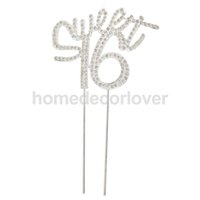 "Wholesale 16 Birthday Cakes - Wholesale- 16th Happy Birthday "" Sweet 16"" Crystal Cake Topper Insert Plug Cupcake Top Decor"