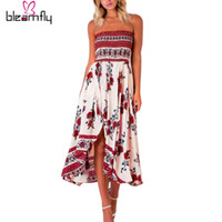 Wholesale Strapless Boho Maxi Dress - 2017 Women Long Maxi Dresses Summer Sexy Party Beach Casual Dress Sleeveless Floral robe Sundress Boho Plus Size Vestidos
