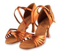 Wholesale Latin Style Wholesale - Latin dance shoes Woman Adult Sports shoes Latin dance Ballroom Tan Satin Heel 8.5cm Sole classic style Hot BD2341