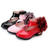Wholesale Kids Shoes For Pink Dress - Spring Brand Children Sandals For Flower Girls Elegant Princess Pu Leather Kids Weddings Dress Party Shoes Banquet Black red pink