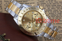 Wholesale big faced watches resale online - hot selling Mens Luxury Watch Automatic Mechanical Self Wind Big Black Face Gold Stainless Steel Gent s male Watches Silver Relogio Masculin