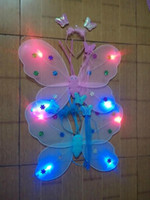 Wholesale Dress Wings Children - Luminous butterfly wholesale prom dress for children 4 lights double queen butterfly wings three sets of wholesale