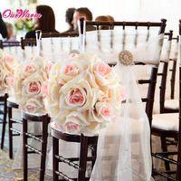 bolas de rosa de flor de seda venda por atacado-Atacado-18cm / 7in fita de seda Rose Flower Artificial Pomander Bouquet Beijando decoração de mesa de centro de casamento de bola