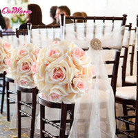 Wholesale rose ball bouquet artificial for sale - Group buy cm in Silk ribbon Rose Flower Ball Artificial Pomander Bouquet Kissing Ball Wedding Centerpiece Decorations