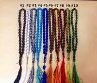 Wholesale Prayer Beads Mala Bracelet - Islamic Prayer Beads Synthetic Quartz Beads 33*8mm Muslim Tasbih Muslem Mala Lucky Bracelet Prayer Workship Rosary Approx with 10 Colors