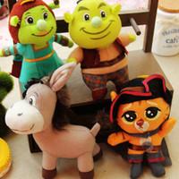 Wholesale Shrek Cat - Wholesale- New arrival Shrek   Shrek wife  Swordsman cat plush toys key bag plush pendant for collection and gift
