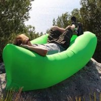Wholesale 2017 Fast Inflatable Sofa Sleeping Bag Outdoor Air Sleep Sofa Couch Portable Sleeping Hangout Lounger Inflate Air Bed cm