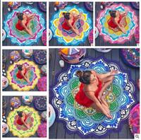 Wholesale Round Mattresses - Round Beach Towel Bohemian Mandalas Lotus flower Tapestry Yoga Mat Wall Hanging Blanket Sandy Beach Towels Mattress Sleeping Pad 120