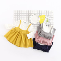 Wholesale Wholesale Fake Collar - 2017 hot sell Korean style new arrivals girls dress long sleeve round collar 100% cotton fake 2 piece sets dress princess dress