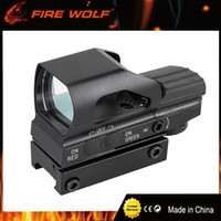 Wholesale green rails - FIRE WOLF Tactical Holographic Red Green Dot Reflex 4 Reticle Sight Scope 20mm Weaver Rail Mount