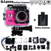 ingrosso camcorder hd completo cmos-2x batteria Mini videocamera andare eroe pro style 1080p Full HD DVR SJ4000 30 M impermeabile Action Camera 2.0