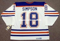 Personnalisé Throwback Hommes CRAIG SIMPSON Edmonton Oilers 1990 CCM Vintage Throwback Accueil Cheap Retro Hockey Jersey
