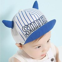 Wholesale Baby Hat Horn - New embroidery SUPER children horn net 3-18 months baby sun hat