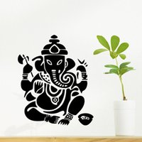 Wholesale god wall decal - 9487 Ganesh Elephant Wall Sticker GOD OM Yoga Buddha Mandala Ganapati Living Room Carving Vinyl Wall Decal Sticker for Home Decoration