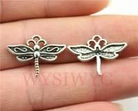 Wholesale Color Dragonfly Charms - Wholesale-WYSIWYG 10pcs 16*22mm fashion antique silver color dragonfly charms