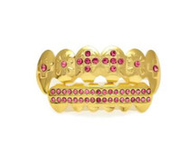 Gold Farbe Iced Out Pink rot blau CZ Strass Hip Hop Zähne für Mund GRILLZ Caps Top Bottom Grill Set Vampire Zähne Schmuck Bling Zähne