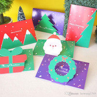 Wholesale Greeting Card Theme Christmas - 1 pcs Creative Christmas theme folding message card with envelope Kawaii New Year blessing greeting card Gift card